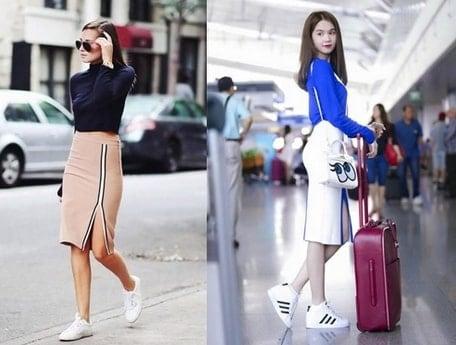 váy yếm kết hợp giày thể thao